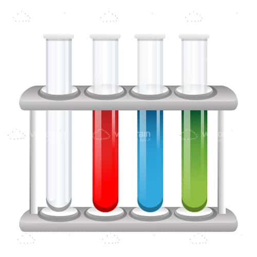 Lab Test Tubes with Colourful Liquids in Holding Stand