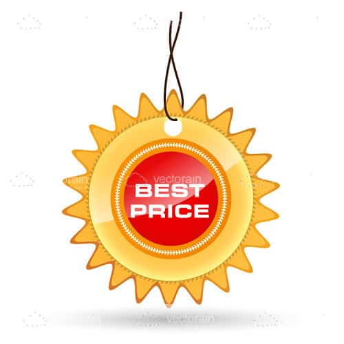 Round Best Price Tag with Spiked Border