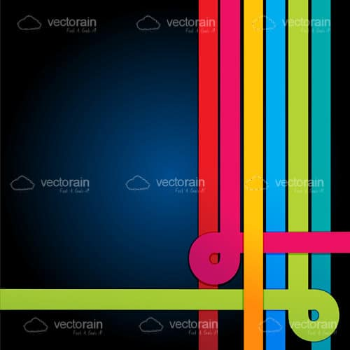 Colourful Retro Stripes on a Blue to Black Hued Background