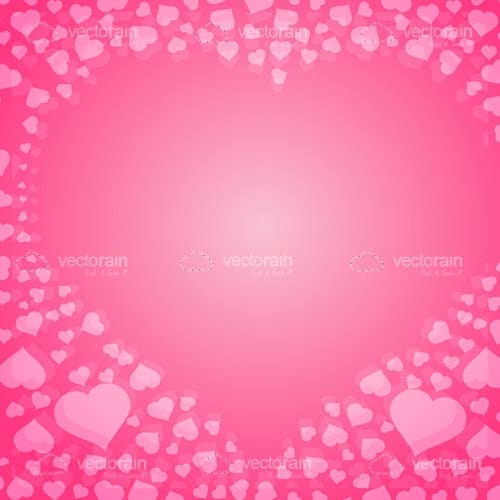 Pink Hearts Background with Central Heart