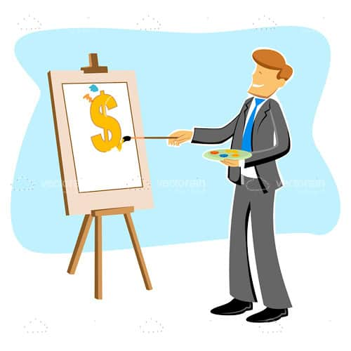 Abstract Businessman Painting Dollar Symbol