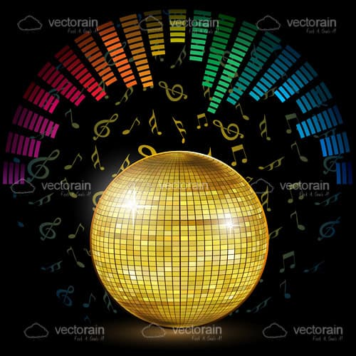 Gold Disco Ball with Colourful Equalizer Lines and Musical Notes