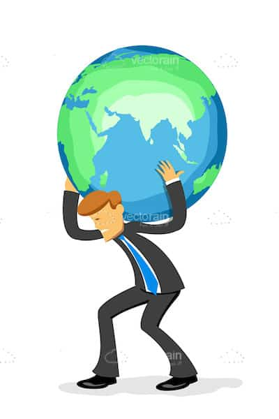 Abstract Businessman Carrying Earth Globe