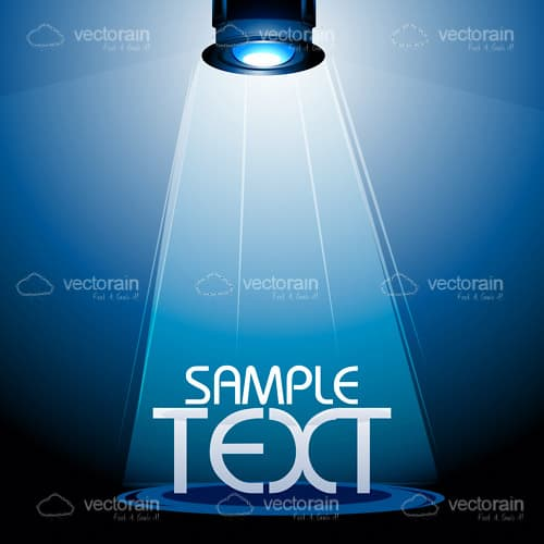 Bright Stage Light on a Blue Background with Sample Text