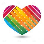 Heart with Multicoloured Stripes in Wicker Pattern