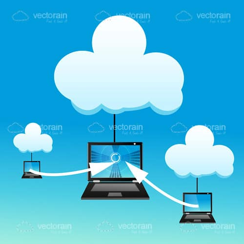 Cloud Technology Design with Laptops, Clouds and Arrows