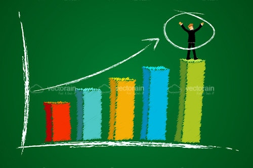 Abstract Growth Graph with Businessman on Top