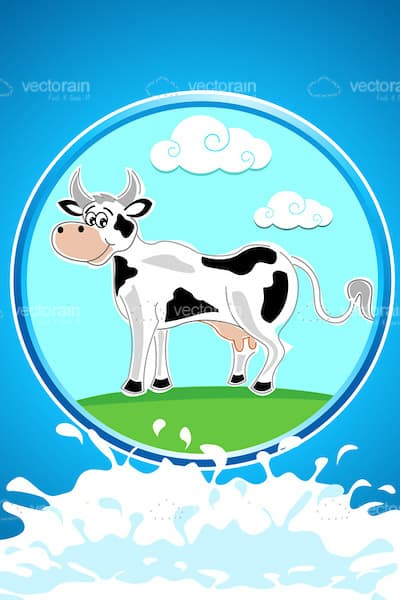 Illustrated Cow in Field Scene with Milk
