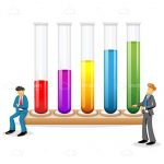 Pair of Scientists Alongside 5 Colourful Test Tubes
