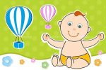 Abstract Smiling Baby with Air Balloons