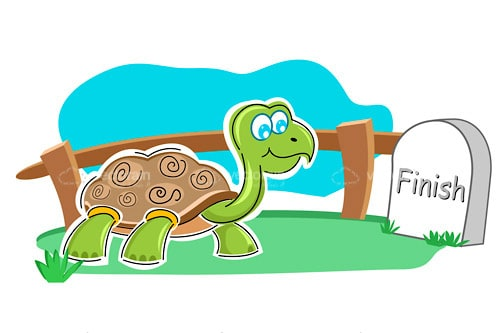 Happy Illustrated Tortoise Near Finishing Line Grave Stone