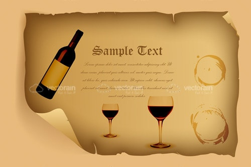 Old Folded and Torn Paper with Wine Bottle, Glasses and Glass Ring Stains Alongside Sample Text