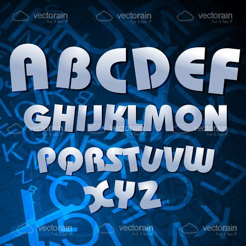Metallic Alphabet Text on a Blue and Black Hued Background