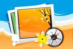 Illustrated Season Pictures with Compass on Beach Background