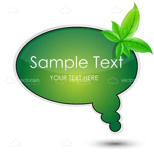 Green Dialogue Bubble with Leaves and Sample Text