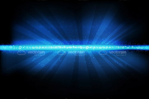 Abstract Technology Background with Beam of Binary Code