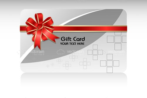 Grey, White and Silver Gift Card with Red Bow