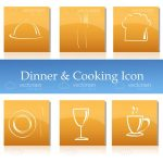 Minimalist White on Yellow Dinner and Cooking Themed Icon 6 Pack