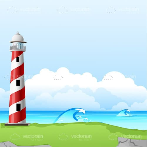 Illustrated Lighthouse on a Green Cliff Edge Over The Sea