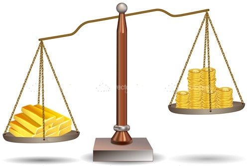 Set of Scales Balancing Gold Coins and Bars