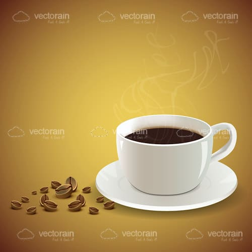 Steamy Hot Coffee Cup with Coffee Beans on the Side