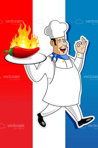 Illustrated Chef with Tray and Burning Chilly on Colourful Background