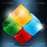 Colourful Transparent Cubes Design