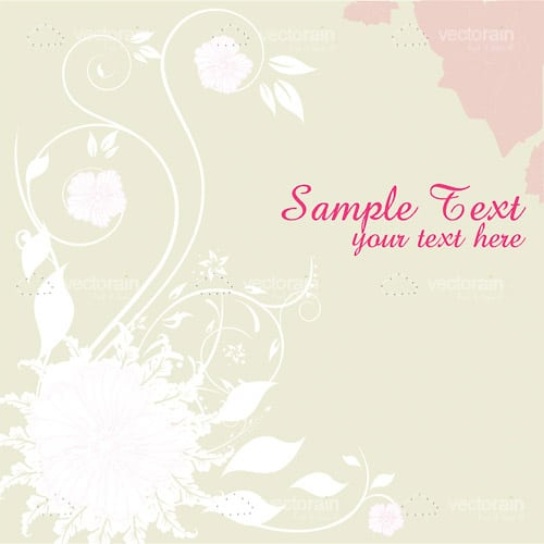 Minimal Silhouette Floral Designed Card Background with Sample Text