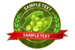 Round Label with Grapes and Sample Text