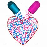 Abstract Heart with Capsule Pouring Male and Female Symbols