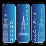London, New York and Paris Background Icons