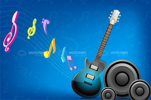Music Design with Speakers, Guitar and Musical Notes