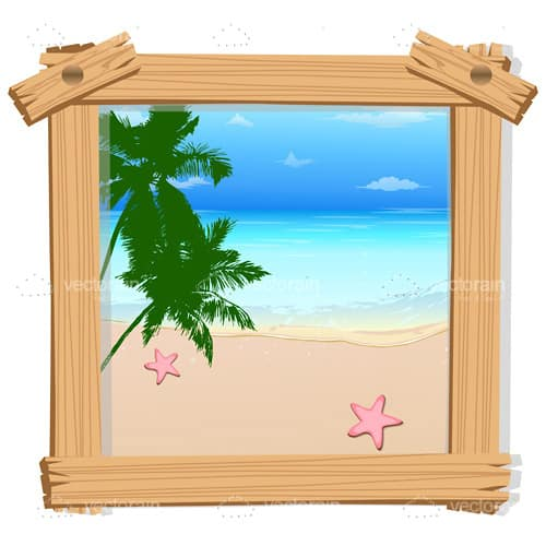 Beach View with Rustic Wooden Frame