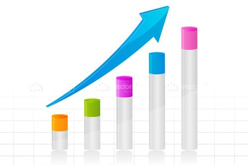 Growth Bars Graphic with Colourful Accents and Arrow