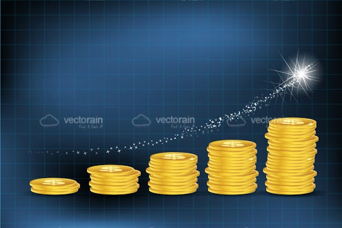 Business Graph Made Of Gold Coins on a Dark Blue Background