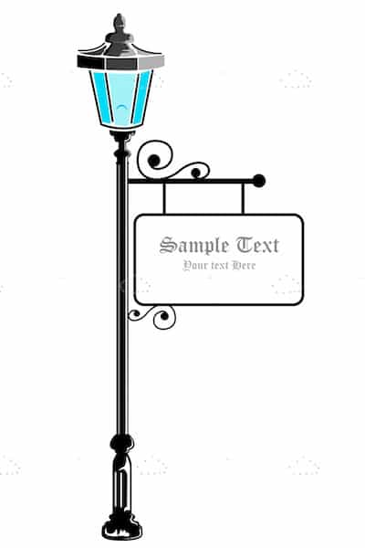 Vintage Street Lamp With Board Sign