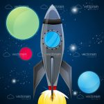 Illustrated Space Rocket Zooming Above Planets