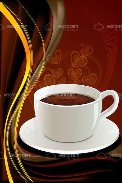 Illustrated Coffee Cup on Background with Hearts and Swirls