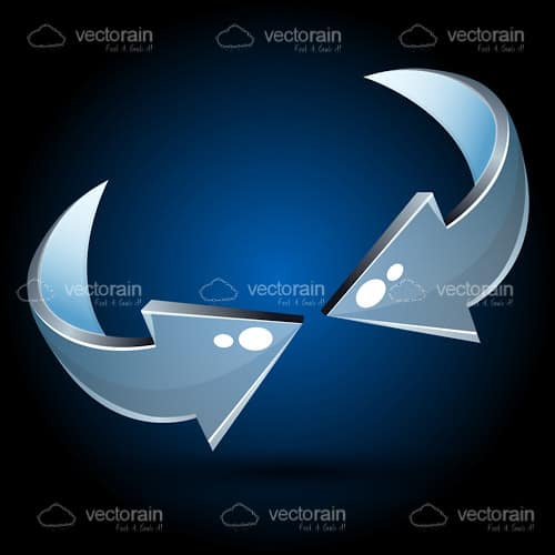 Abstract Metallic Arrows on a Dark Blue to Black Hued Background