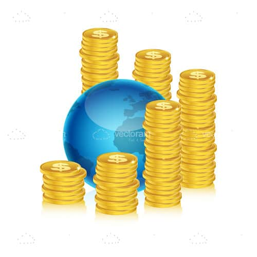 Earth Globe with Piles of Golden Coins