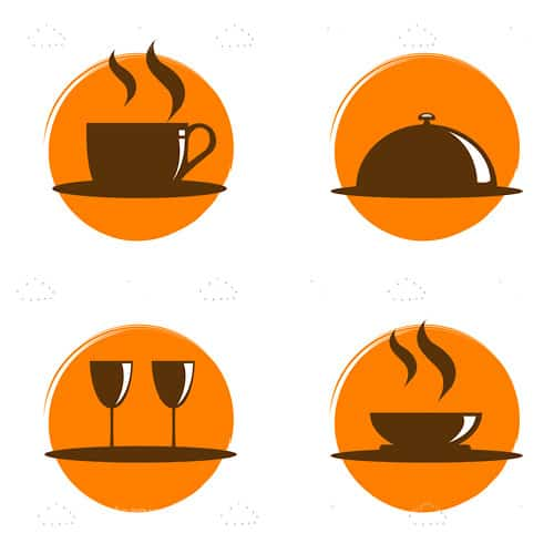 Brown on Orange Restaurant Themed Icon 4 Pack