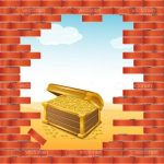 Brick Wall with Hole to Beach Scene with Treasure Chest