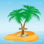 Coconut Tree on a Desert Island with a Directional Board