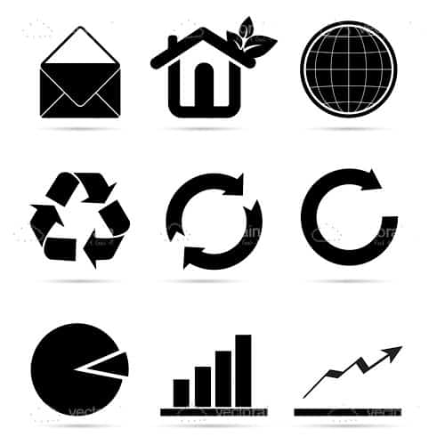 Black and White Recycling Themed Icons 9 Pack