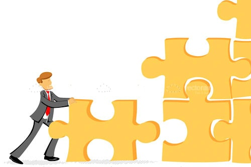 Abstract Businessman Assembling Jigsaw Puzzle