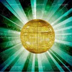 Golden Disco Ball with Ray Lights and Floral Background