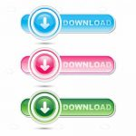 Blue, Pink and Green Download Buttons
