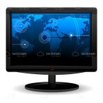 Black Computer Monitor with World Map Wallpaper