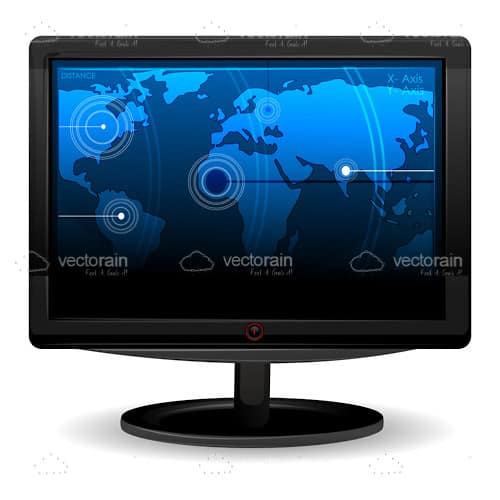 Black computer monitor with world map wallpaper vectorjunky black computer monitor with world map wallpaper gumiabroncs Image collections