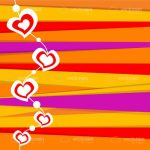Colourful Background with Lines Pattern and Hearts